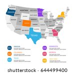 colored infographics usa map.... | Shutterstock .eps vector #644499400
