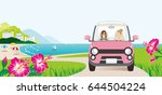 car driving in the seaside road ... | Shutterstock .eps vector #644504224