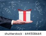 a businessman's hand turned up... | Shutterstock . vector #644508664