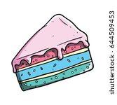 cute colorful slice cake with... | Shutterstock .eps vector #644509453