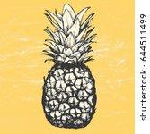vector hand drawn pineapple... | Shutterstock .eps vector #644511499