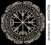 viking design. magical runic... | Shutterstock .eps vector #644514706