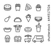 fast food thin line icons | Shutterstock .eps vector #644517526