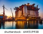 oil rig under construction at... | Shutterstock . vector #644519938