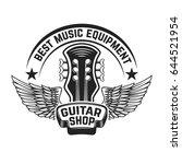 guitar shop label template.... | Shutterstock .eps vector #644521954
