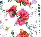 vintage seamless pattern  bird  ...   Shutterstock .eps vector #644525758