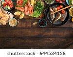 family dinner table with shrimp ... | Shutterstock . vector #644534128