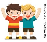 two boys smile  hugging and... | Shutterstock .eps vector #644539480