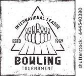 bowling tournament vector label ... | Shutterstock .eps vector #644540380