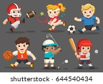 team sports for kids including... | Shutterstock .eps vector #644540434