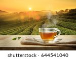 cup of hot tea and leaf on the... | Shutterstock . vector #644541040