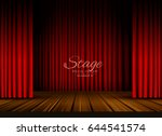 open red curtains stage ... | Shutterstock .eps vector #644541574