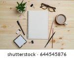 top view workspace mockup on... | Shutterstock . vector #644545876