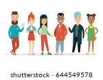 flat stylish teenagers vector... | Shutterstock .eps vector #644549578