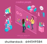 flat isometric young woman... | Shutterstock .eps vector #644549584