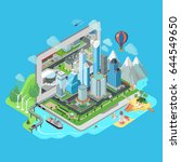 flat isometric city and nature... | Shutterstock .eps vector #644549650