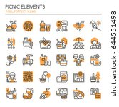 picnic elements   thin line and ... | Shutterstock .eps vector #644551498