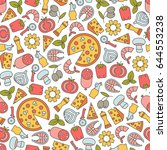 seamless pattern with pizza... | Shutterstock .eps vector #644553238