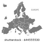 new european map after exit of... | Shutterstock .eps vector #644555530