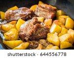detail shot of pork roasted... | Shutterstock . vector #644556778