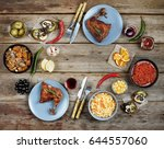 concept of home food.... | Shutterstock . vector #644557060