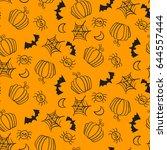 seamless pattern with halloween ...   Shutterstock .eps vector #644557444