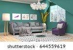 interior living room. 3d... | Shutterstock . vector #644559619