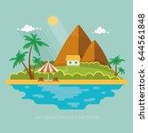 summer paradise ocean landscape.... | Shutterstock .eps vector #644561848