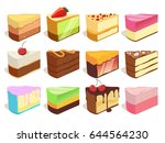 cream cake slices pieces.... | Shutterstock .eps vector #644564230