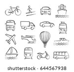 transport icons in doodle style | Shutterstock .eps vector #644567938
