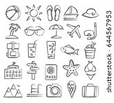 summer icons in doodle style | Shutterstock .eps vector #644567953