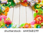 colored flags garland  gifts... | Shutterstock . vector #644568199