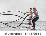 fitness people exercising with... | Shutterstock . vector #644570563
