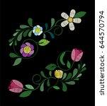 embroidery tulip flower designs.... | Shutterstock .eps vector #644570794