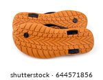 brown rubber flip flops on a... | Shutterstock . vector #644571856