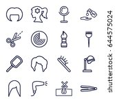 hair icons set. set of 16 hair... | Shutterstock .eps vector #644575024