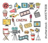 movie entertainment vector icon ... | Shutterstock .eps vector #644579308