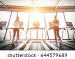 sport girls running on... | Shutterstock . vector #644579689