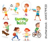 uniformed happy kids playing... | Shutterstock .eps vector #644579920