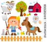 farming illustration set with... | Shutterstock .eps vector #644585008