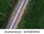 aerial view of railway track... | Shutterstock . vector #644585443