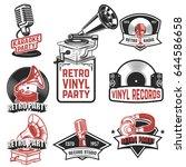 set of retro party emblems.... | Shutterstock .eps vector #644586658