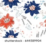 roughly drawn spring flowers... | Shutterstock .eps vector #644589904