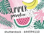 summer paradise poster with... | Shutterstock .eps vector #644594110