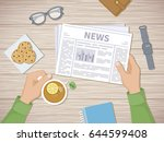 man reading the latest news at... | Shutterstock . vector #644599408