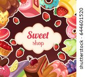 sweet shop vector background... | Shutterstock .eps vector #644601520