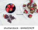 variety of strawberries covered ... | Shutterstock . vector #644602429
