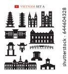 vietnam landmarks architecture... | Shutterstock .eps vector #644604328