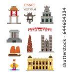 hanoi vietnam landmarks... | Shutterstock .eps vector #644604334