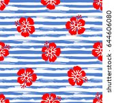 seamless pattern with hibiscus... | Shutterstock .eps vector #644606080